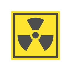 Radioactive warning yellow triangle sign. Radioactivity warning vector symbol.
