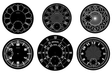 Clock face blank set isolated on white background. Vector watch design. Vintage roman numeral clock illustration. White number round scale on black circle.