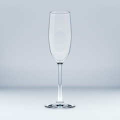 Realistic Template of an Empty Transparent Glass. 3D Illustration.