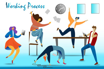 Work in deadline flat composition with stressed human characters near alarm clock on blue background vector illustration. Organization of process.