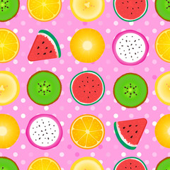 Seamless pattern Abstract girly texture of fruit slices. Vector illustration isolated on pink background