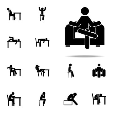 chair, lounge, man icon. Man Sitting On icons universal set for web and mobile