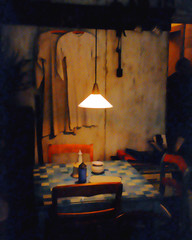 Impressionistic rendering of  blue and white checkered tablecloth in a vintage room with nightclothes hanging on the old textured walls and the dark shadow of a person walking into the room.
