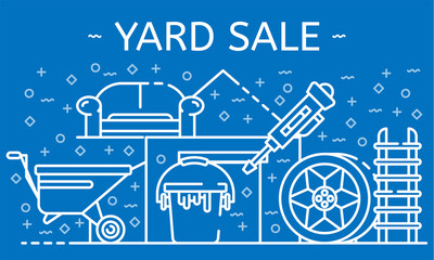 Yard sale banner. Outline illustration of yard sale vector banner for web design