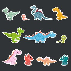 A set of labels. Prehistoric dinosaurs, carnivores and herbivores.