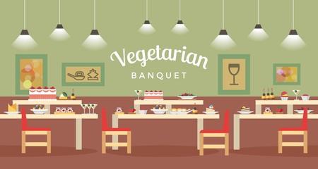 Vegetarian Banquet Hall Flat Vector Illustration