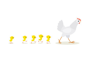 Illustration of walking red hen and chicks isolated on white background