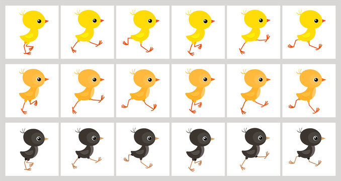 Running colorful chickens animation sprite sheet isolated on white background
