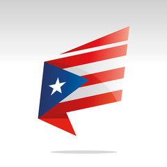 New abstract Puerto Rico flag origami logo icon button label vector