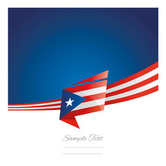 New abstract Puerto Rico flag ribbon origami blue background vector