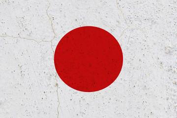 Japan flag on concrete wall