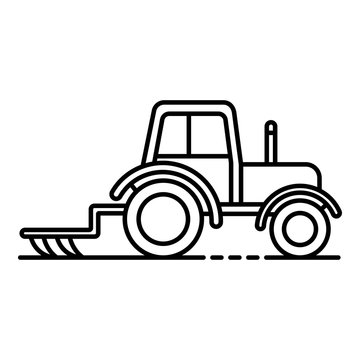 Tractor with plow icon. Outline tractor with plow vector icon for web design isolated on white background