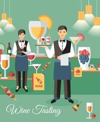 Wine Tasting Event Banner Flat Vector Illustration