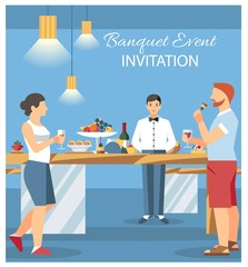 Banquet Invitation Card Flat Vector Illustration