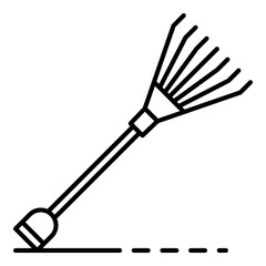 Garden leaf rake icon. Outline garden leaf rake vector icon for web design isolated on white background