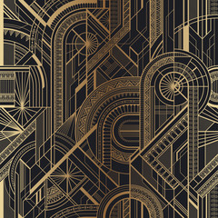 Seamless art deco geometric gold and black pattern