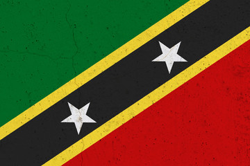 Saint Kitts and Nevis flag on concrete wall