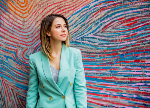 Young woman in Blazer of 90s style