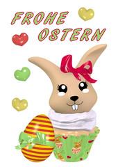 Osterkarte mit hübschem 3D Kawaii Osterhasen im Cupcake.