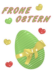 3D Osterkarte mit grünem großem Osterei mit Schleife.