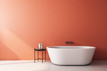Modern orange bathroom Wall mural