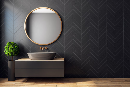 Modern black bathroom interior