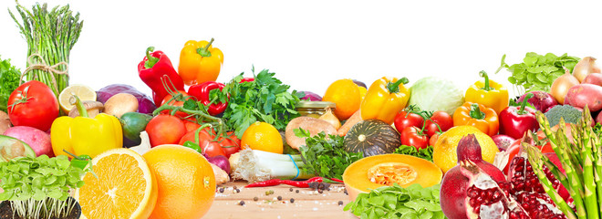 Fototapete - Vegetables and fruits background.