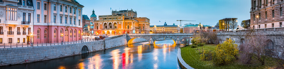 Stockholm city center with Royal Swedish Opera at twilight, Sweden, Scandinavia