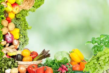 Wall Mural - Vegetables food background.