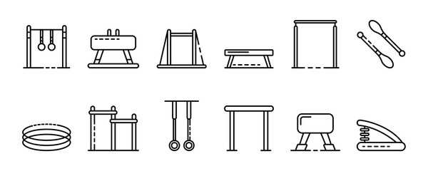 Gymnastics equipment icons set. Outline set of gymnastics equipment vector icons for web design isolated on white background