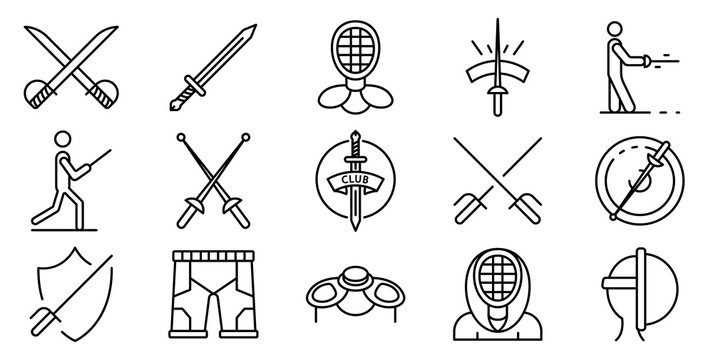 Fencing icons set. Outline set of fencing vector icons for web design isolated on white background