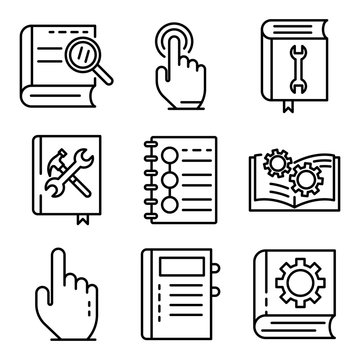 User guide icons set. Outline set of user guide vector icons for web design isolated on white background