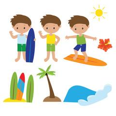 Surfing vector clip art