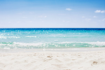 Summer vacation on tropical beach and ocean sea background. Travel relaxing holiday.