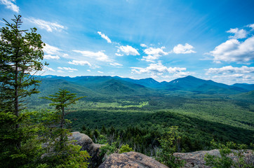 Hiking mount van hoevenberg in the adirondack mountains near Lake Placid NY