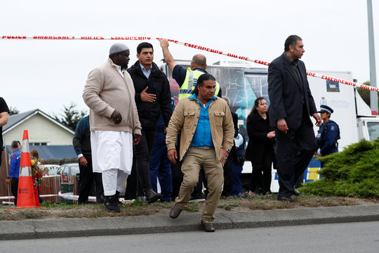 Abdul Aziz, who charged as well as threw a credit card machine at the shooter outside the Linwood Mosque during Friday's shooting, leaves the Linwood Mosque in Christchurch