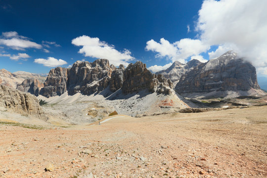 view from Lagazuoi in Dolomites, Italian Alps, Italy