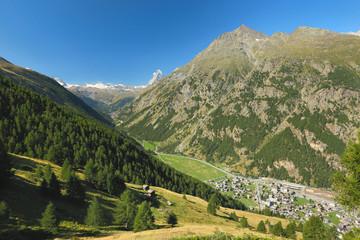 View of the Tasch near the village of Zermatt, Switzerland