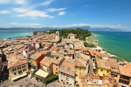 View of Sirmione historical center from the castle, Lake Garda