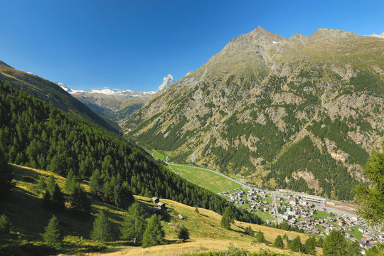 View of the Tasch near the village of Zermatt, Switzerland