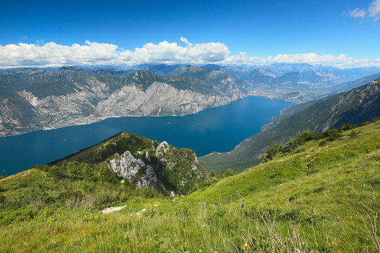 view from Monte Baldo on Lake Garda, Italy