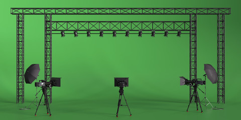 Photo studio equipment 3d rendering illustration