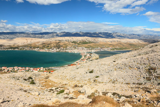 view of the town of Pag, Dalmatia, Croatia