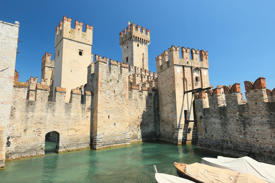 Sirmione, the castle at the entrance of the old town, Lake Garda