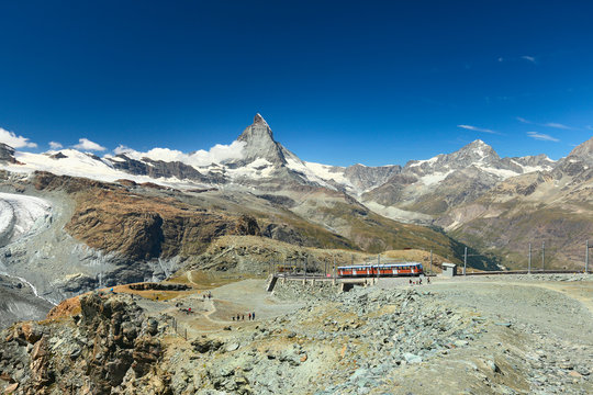 Zermatt, view of the Matterhorn with alpine railway, Valais, Switzerland