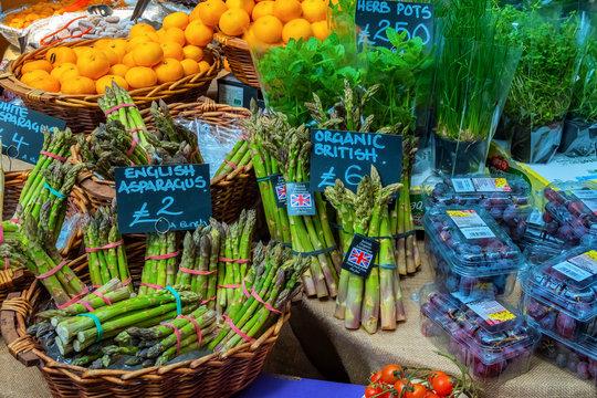 Vegetables at Borough Market in Southwark, London, UK