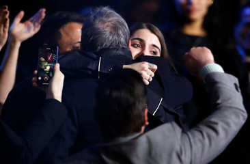 Bulow is embraced after winning breakthrough artist of the year at the 2019 Juno Awards in London, Ontario, Canada