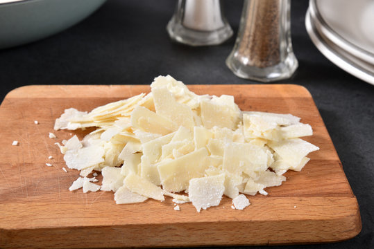 Shaved asiago, parmesan and romano cheeses