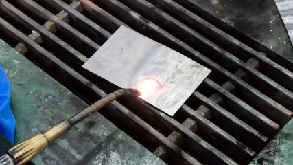 Gas Welding torch in action