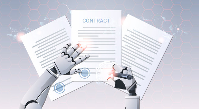 robot hand holding pen signature document signing up contract humanoid sign agreement top angle view artificial intelligence digital futuristic technology concept horizontal